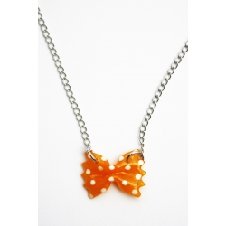 17 € Collier FARFALLE à Pois Orange