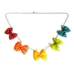 23 € Collier G. FARFALLES Multicolores à Pois