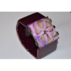 14 € Bracelet BELTA Classic Bordeaux Stamps VINTAGE  IMPECCABLE !